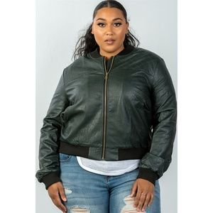 Jackets & Blazers - 123X PLUS PEACOCK PLEATHER BOMBER JACKET 